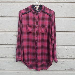 Matilda Jane Purple Plaid Button Down Tunic Shirt